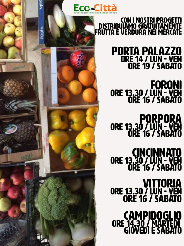 Torino Salvacibo distribuzione gratuita di frutta e verdura nei mercati